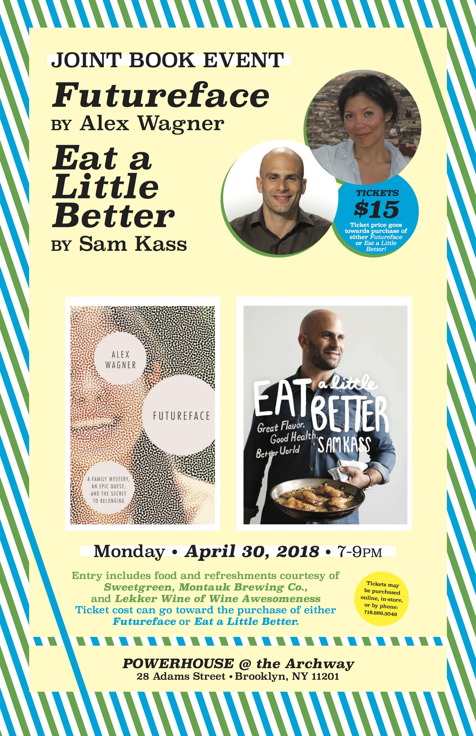 Joint Book Event: Futureface by Alex Wagner & Eat a Little Better by Sam Kass [Ticketed]