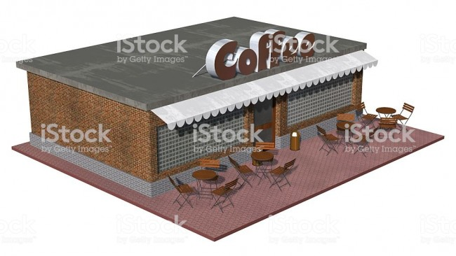 3d coffee Shop restaurant or cafe building isolated on white