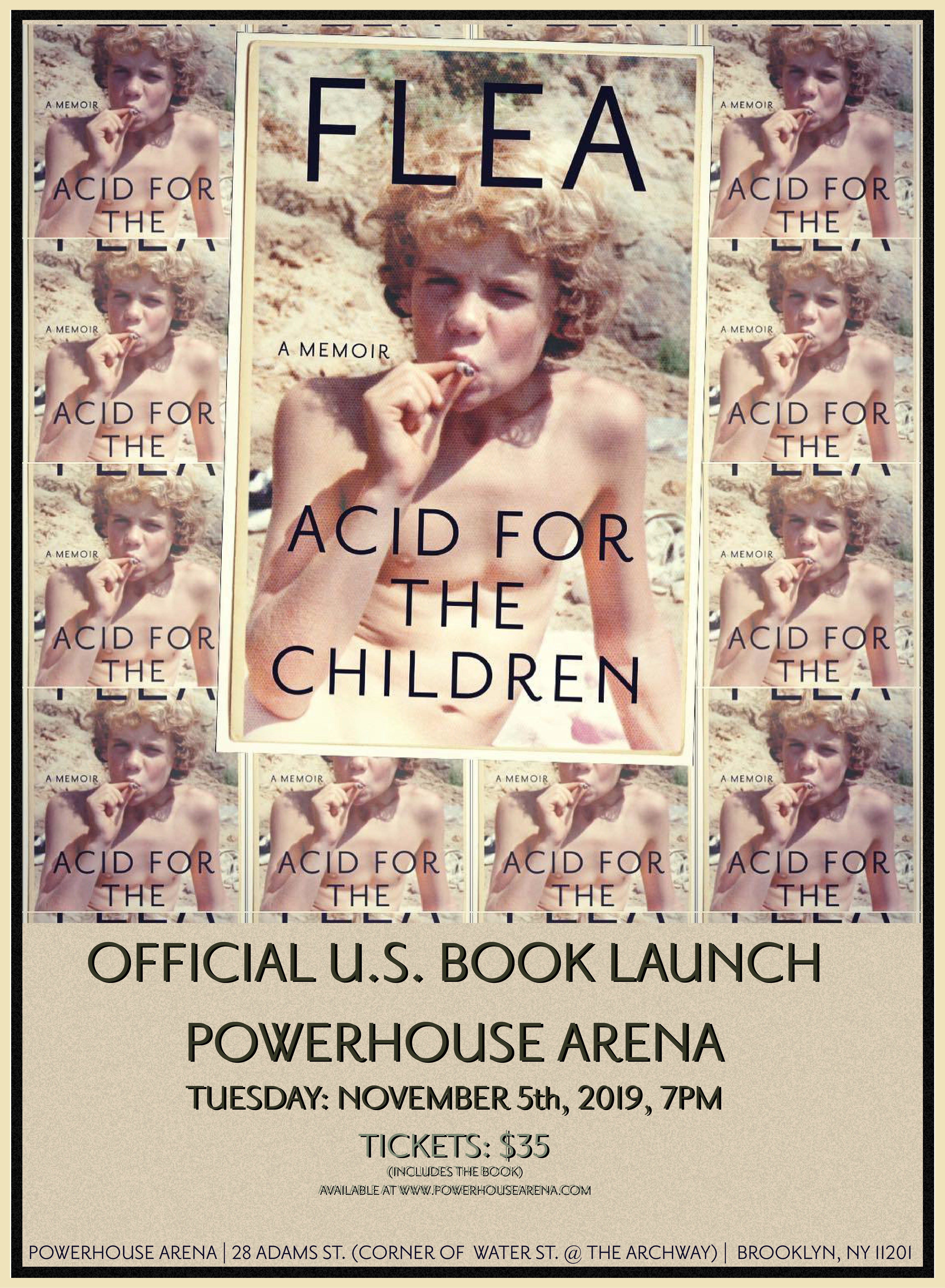 Powerhouse Arena and Rough Trade present the official U.S. book launch of Acid For The Children by Flea