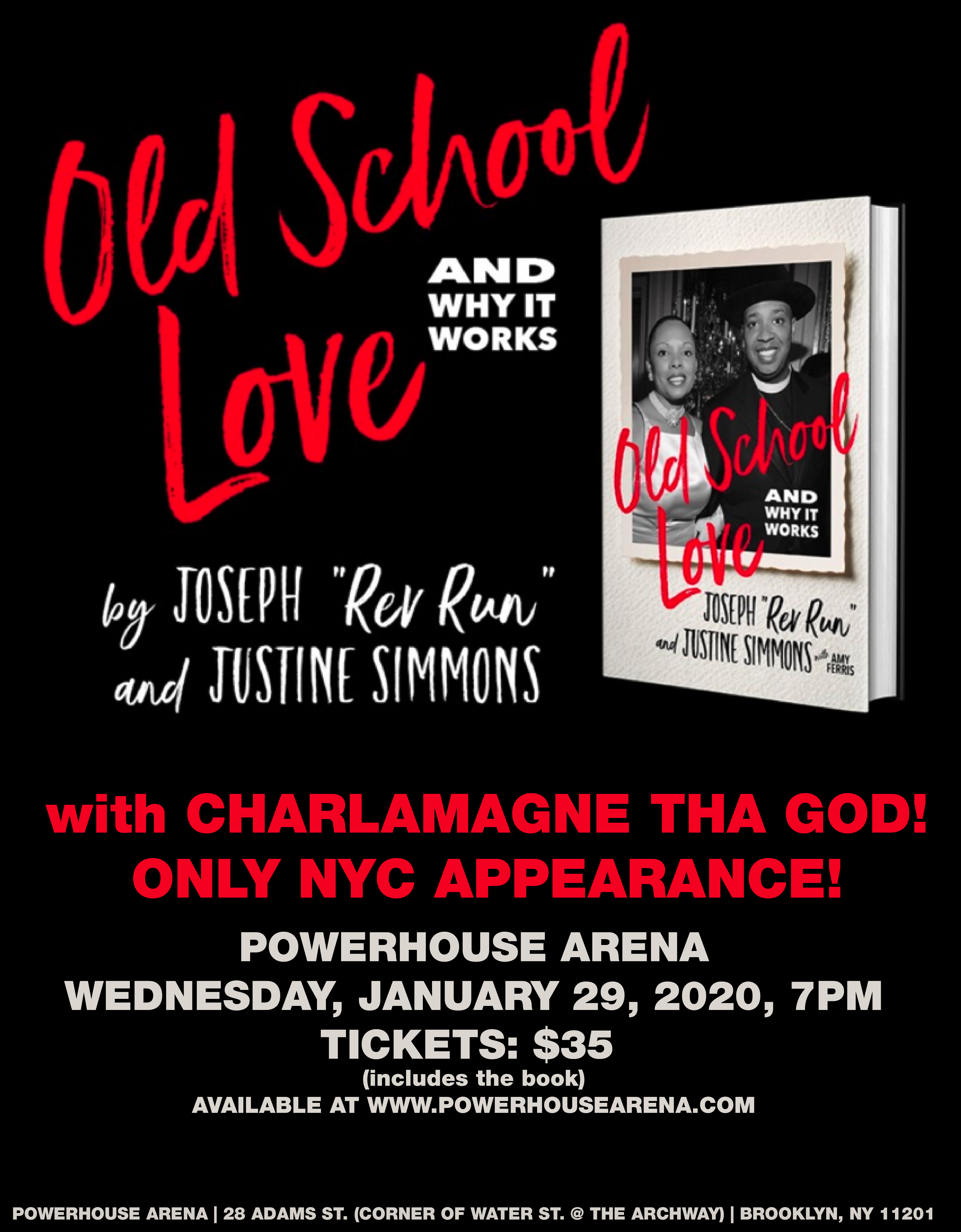 "Book Launch: Old School Love by Joseph ""Rev Run"" Simmons and Justine Simmons in conversation with Charlamagne Tha God"