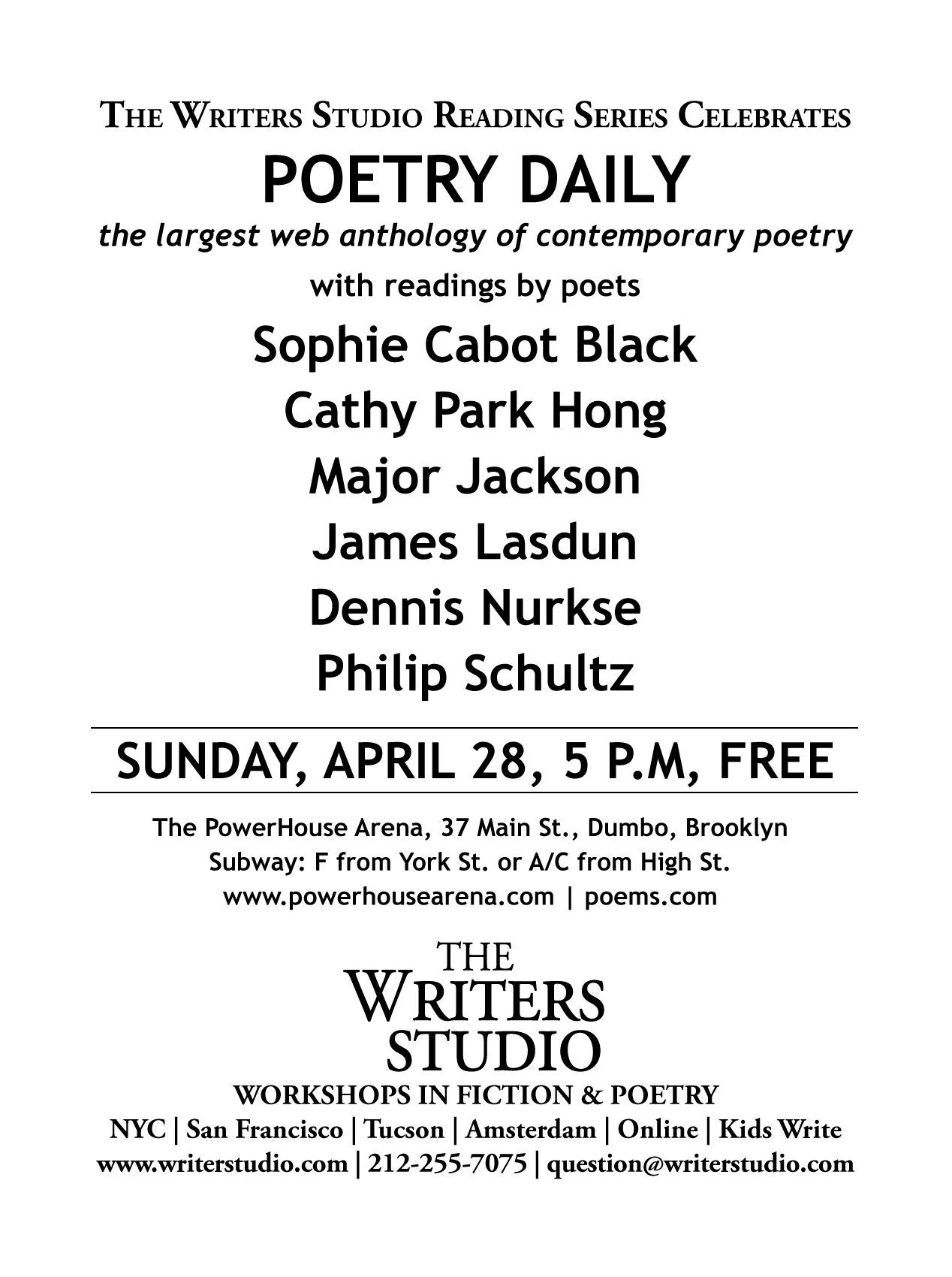 The Writers Studio Reading Series Celebrates: Poetry Daily
