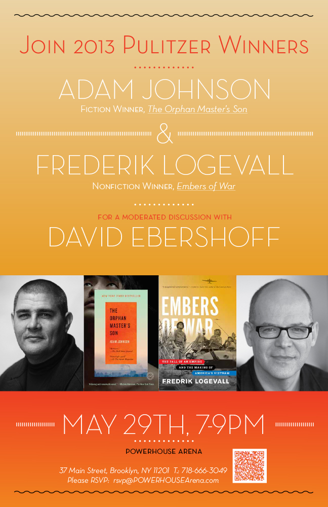 North Korea, Vietnam, and the Making of Two Pulitzer Prizes: Adam Johnson (The Orphan Master's Son) and Fredrik Logevall (Embers of War) in conversation with their Random House editor, David Ebershoff