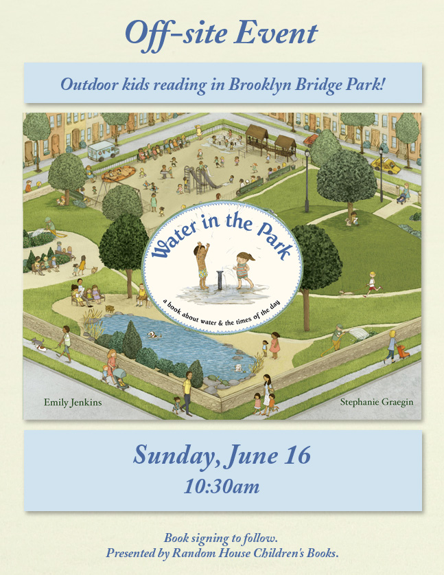 An outdoor kids reading in Brooklyn Bridge Park…Water in the Park