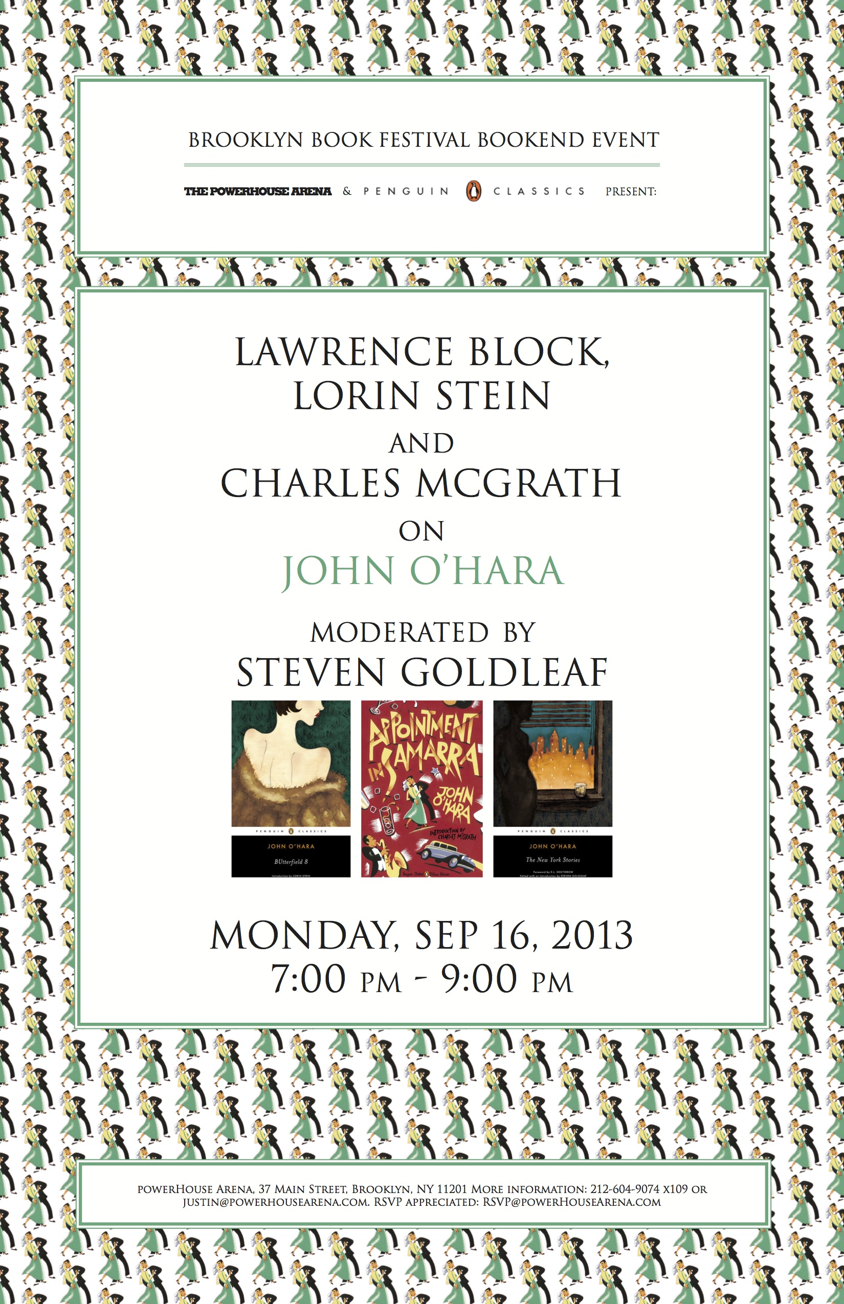 Brooklyn Book Festival Bookend Event: POWERHOUSE Arena + Penguin Classics Present: Lawrence Block, Lorin Stein and Charles McGrath on John O'Hara, moderated by Steven Goldleaf