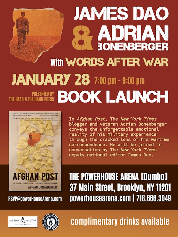 Book Launch: Afghan Post by Adrian Bonenberger, with The New York Times' deputy national editor James Dao