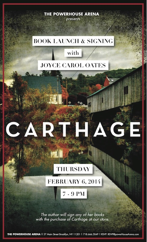 Book Launch: Carthage by Joyce Carol Oates
