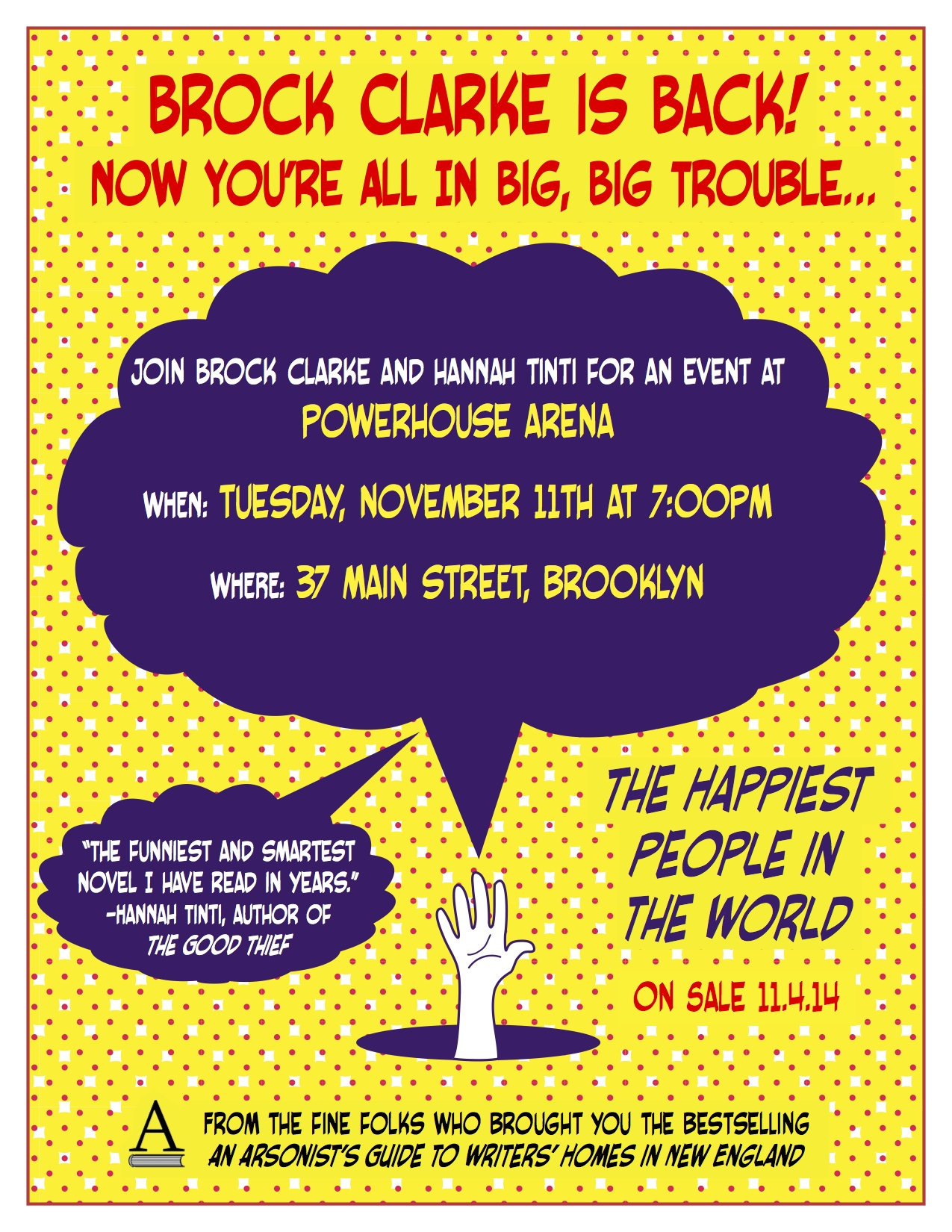 NYC Launch: The Happiest People in the World by Brock Clarke, with Hannah Tinti