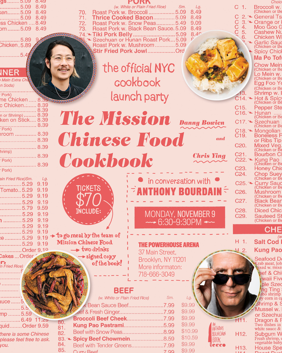 Book Launch: The Mission Chinese Food Cookbook by Danny Bowien and Chris Ying in conversation with Anthony Bourdain