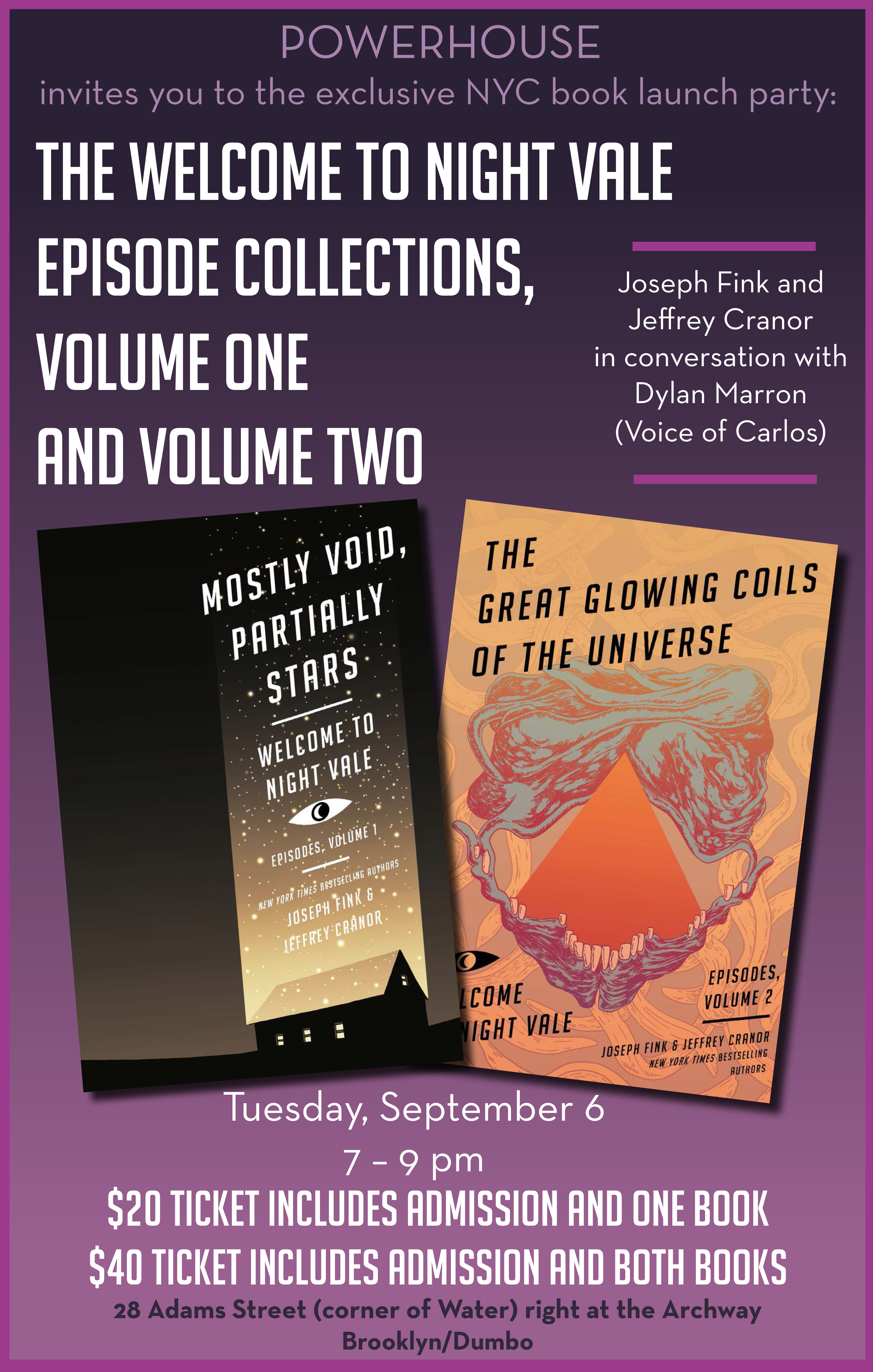 Book Launch: Welcome to Night Vale Episodes Volume One and Two by Joseph Fink and Jeffrey Cranor in conversation with Dylan Marron