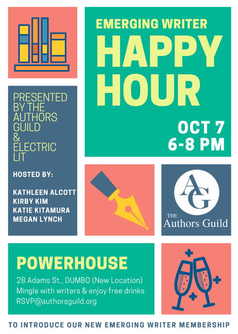 Emerging Writer Happy Hour presented by The Authors Guild and Electric Literature