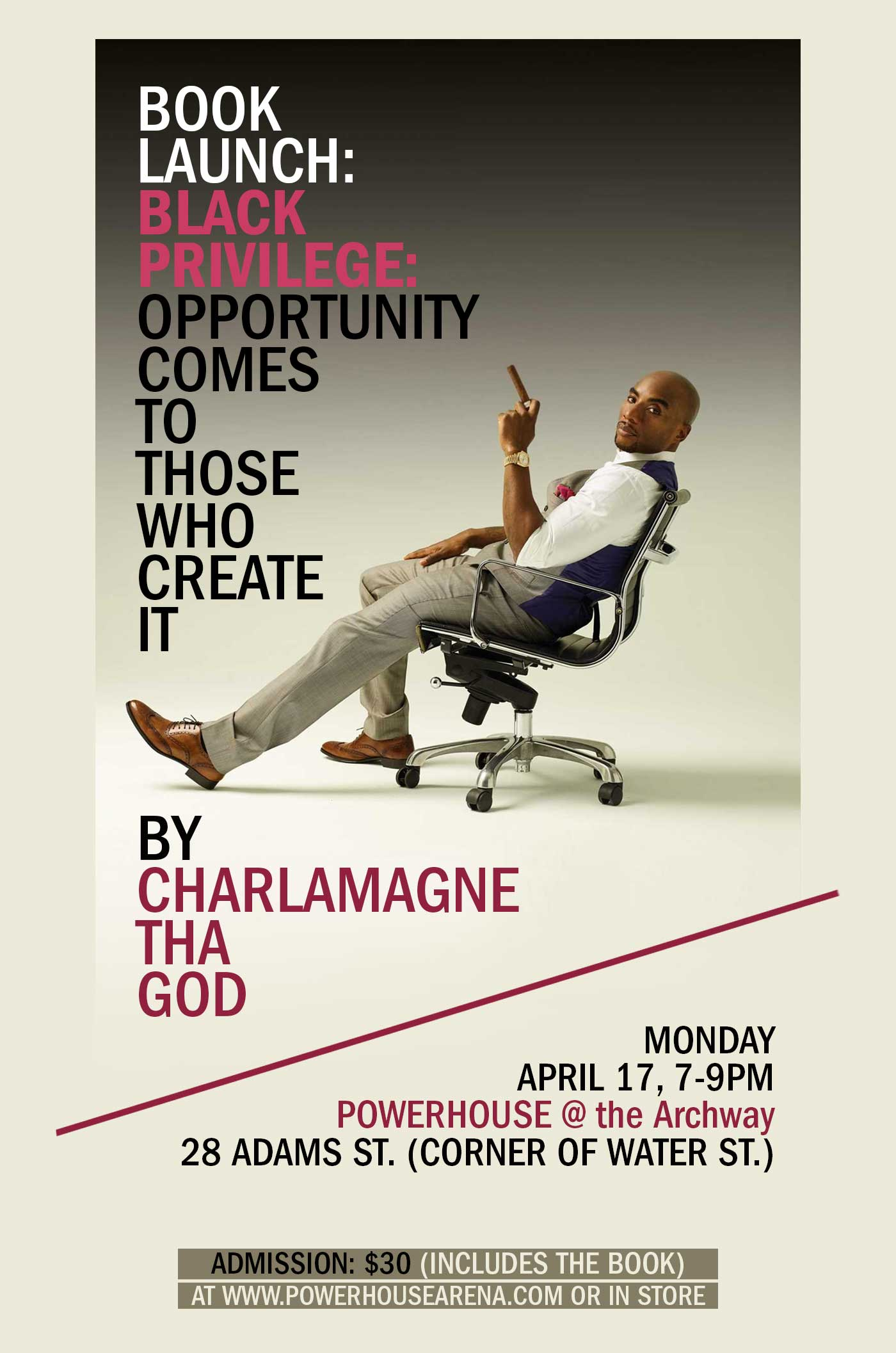 Book Launch: Black Privilege: Opportunity Comes to Those Who Create It by Charlamagne  Tha