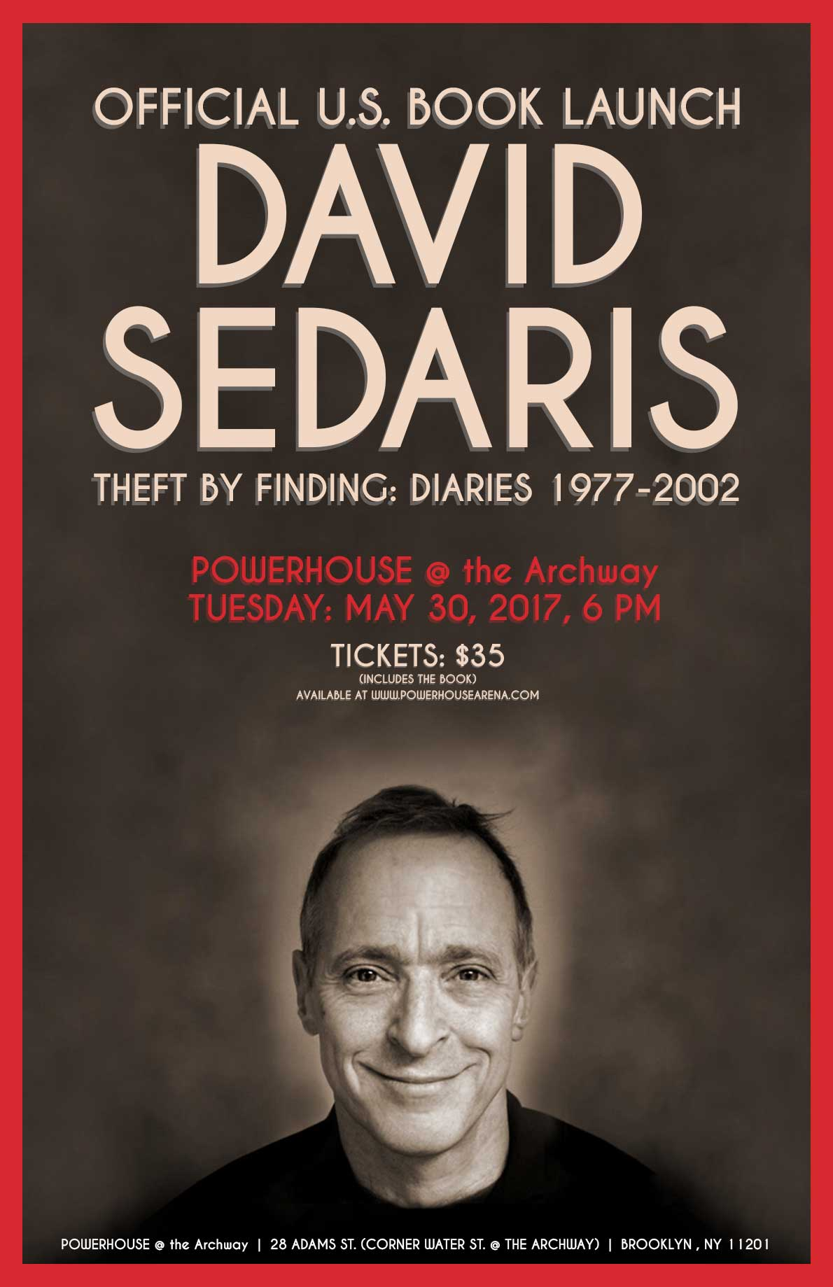 U.S. BOOK LAUNCH: THEFT BY FINDING: DIARIES 1977-2002 by David Sedaris