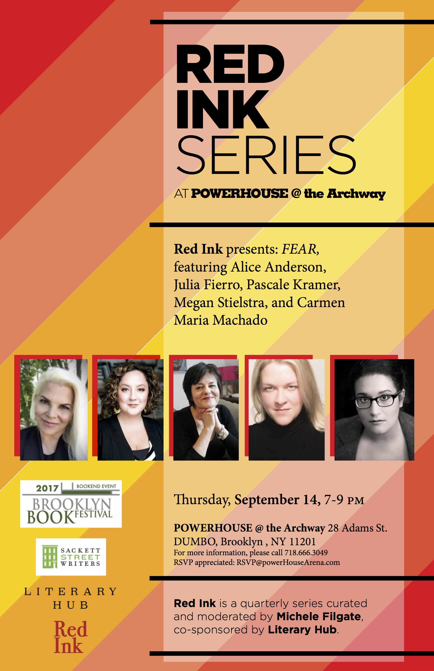 Red Ink Series: FEAR, hosted by Michele Filgate with Alice Anderson, Julia Fierro, Pascale Kramer, Megan Stielstra and Carmen Maria Machado