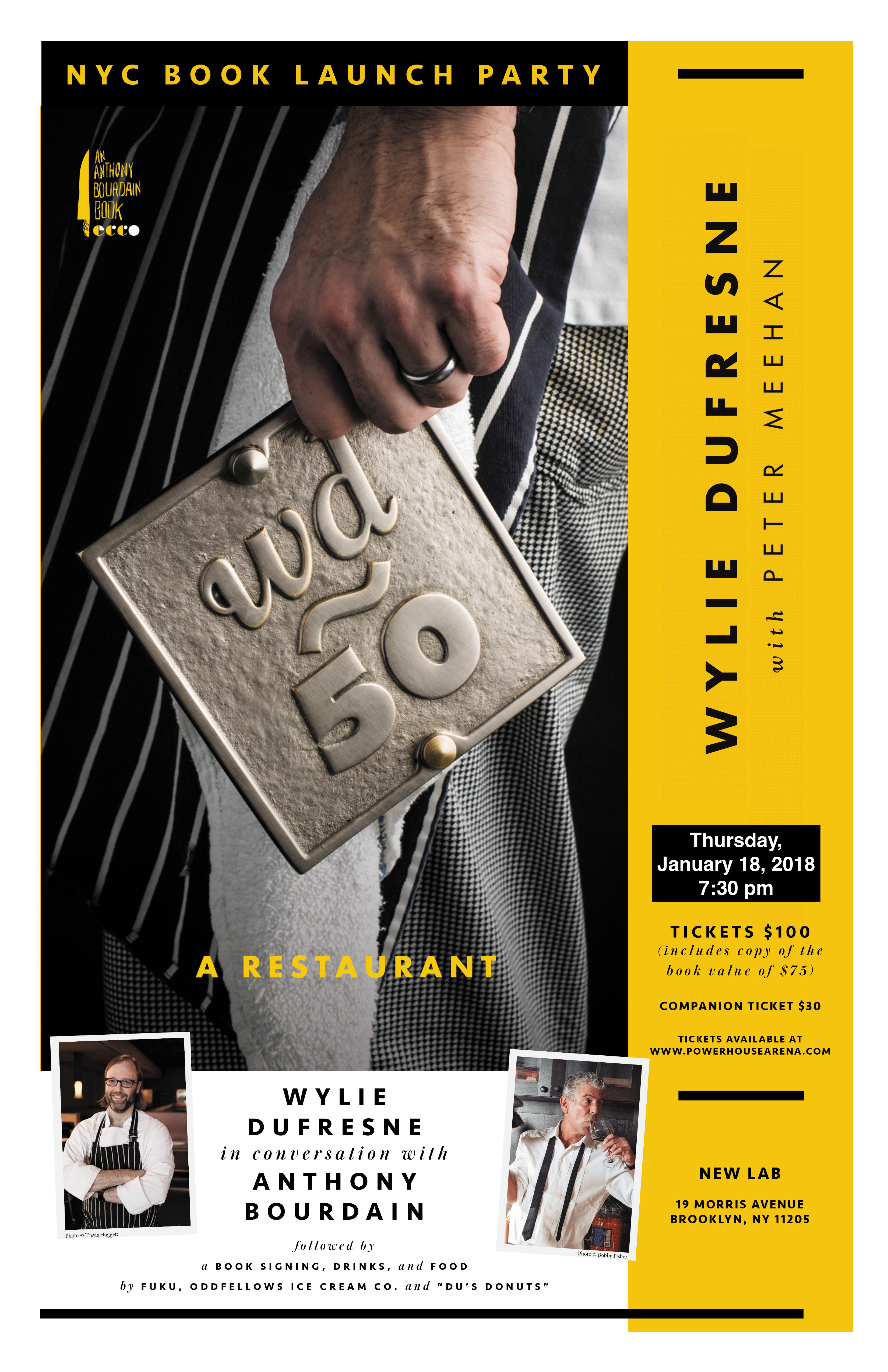 NEWLY RESCHEDULED!  NYC Book Launch Party: wd~50: The Cookbook by Wylie Dufresne — in conversation w/ Anthony Bourdain