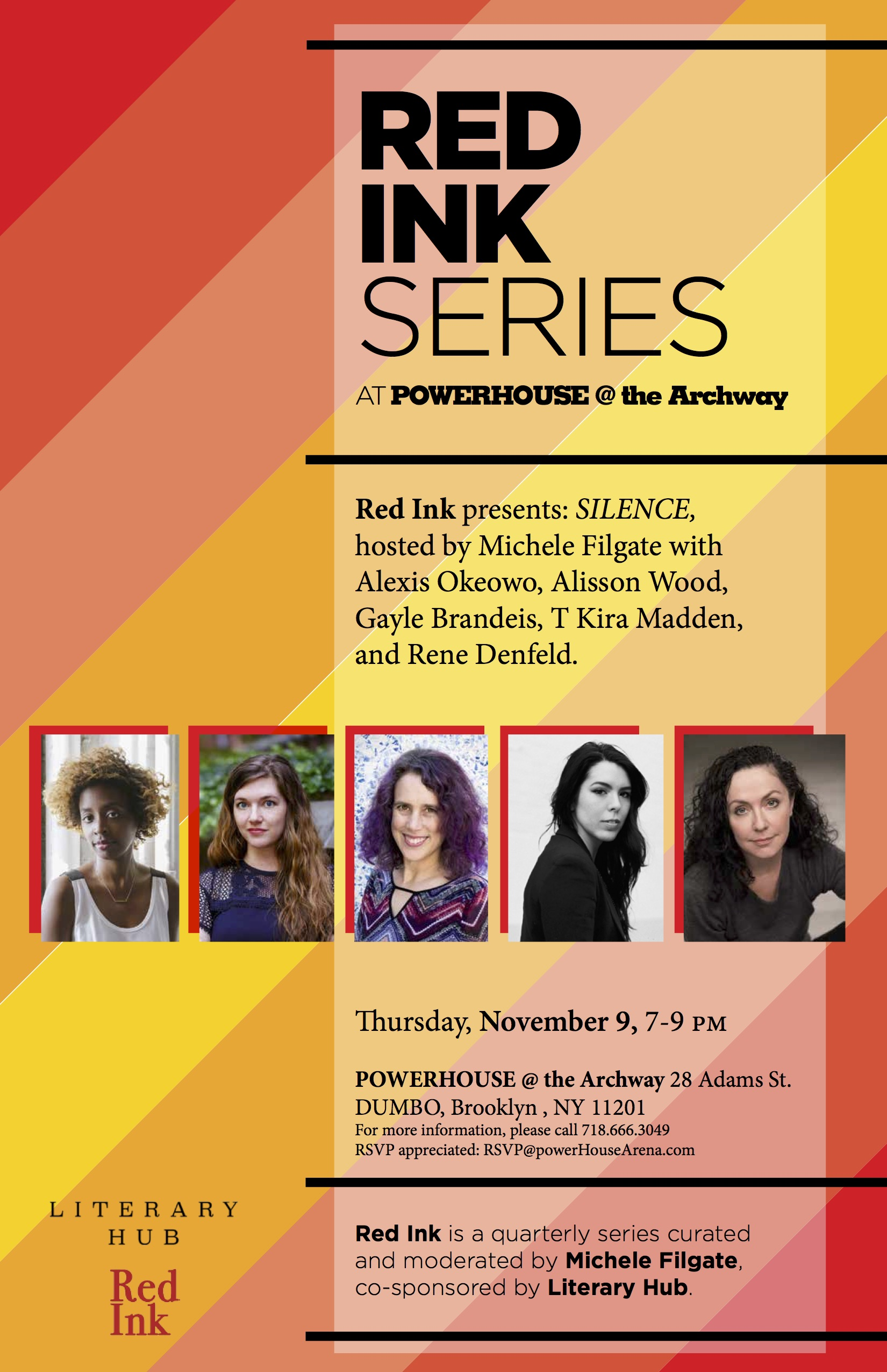 Red Ink Series: SILENCE, hosted by Michele Filgate with Gayle Brandeis, Alexis Okeowo, Rene Denfeld, Alisson Wood and T Kira Madden