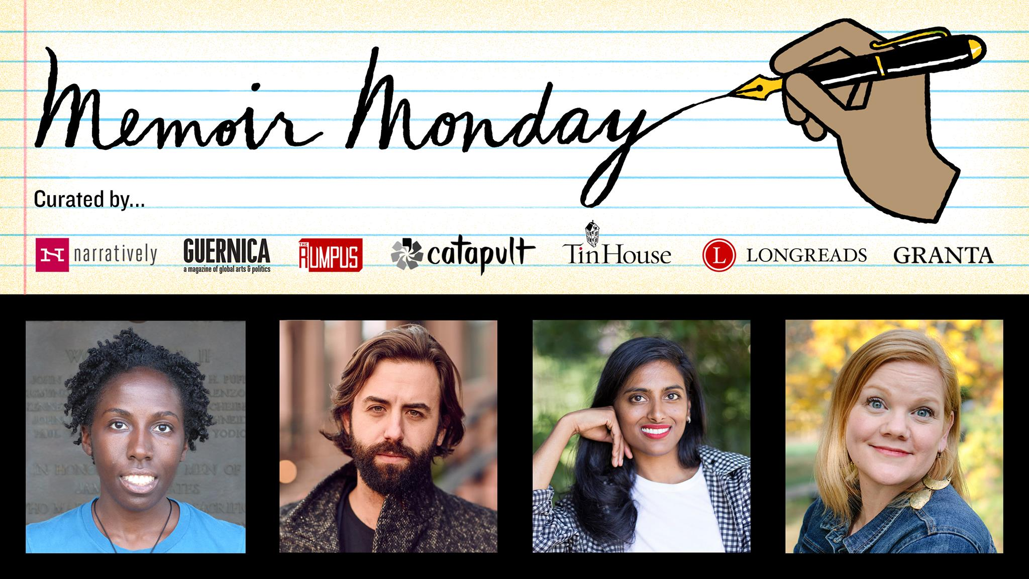 Memoir Monday: Featuring Jennifer Baker, Daniel Magariel, Mallika Rao, & Kelly Sundberg — Hosted by Lilly Dancyger