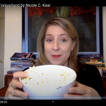 Nicole C Kear with popcorn